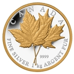$250 2013 Silver Coin with Selective Gold Plating - Maple Leaf Forever