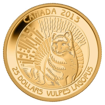 $25 2013 Pure Gold Coin - Arctic Fox