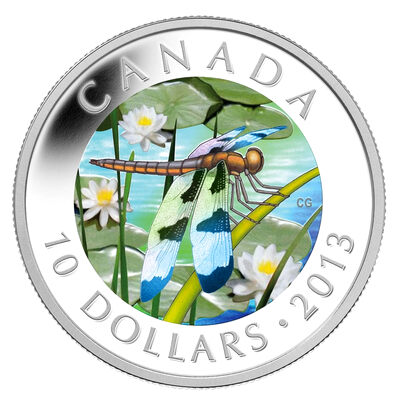 $10 2013 Fine Silver Coin - Twelve-Spotted Skimmer Dragonfly