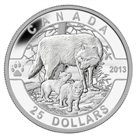 $25 2013 Fine Silver Coin - O Canada Series - The Wolf