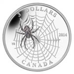 $3 2014 Fine Silver Coin - Animal Architects - Spider Web