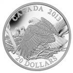$20 2013 Fine Silver Coin - The Bald Eagle - Mother Protecting Her Eaglets