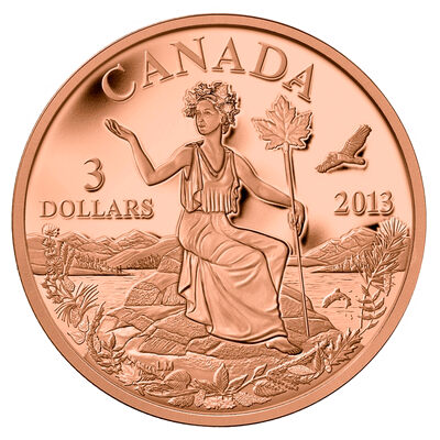$3 2013 Bronze Coin - Canada: An Allegory