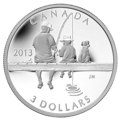 $3 2013 Fine Silver Coin - Fishing