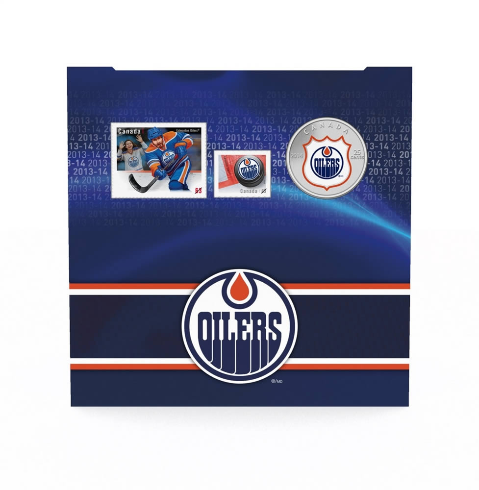 25c 2014 NHL Coin And Stamp Gift Set Edmonton Oilers