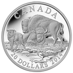 2014 $20 Fine Silver Coin - Bison A Family at Rest