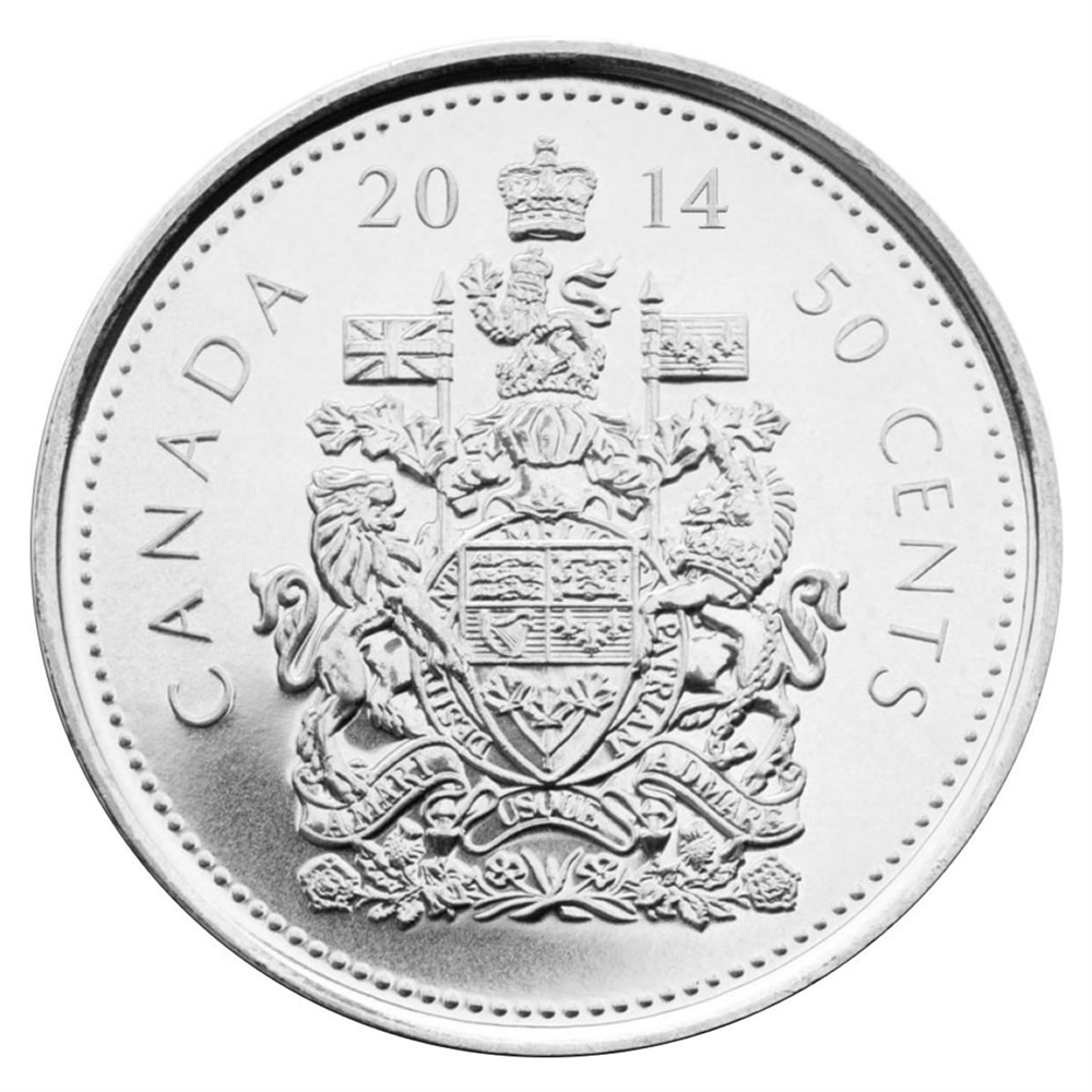 CANADA 2016 NICKEL HALF DOLLAR COAT OF ARMS DESIGN  FROM THE ROLL