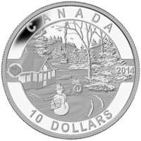 2014 $10 Fine Silver Coin - O Canada - Canadian Holiday Scene