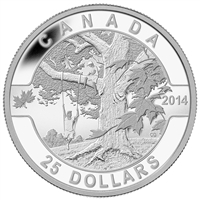 2014 $25 Fine Silver Coin - O Canada - Under the Maple Tree