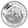 $10 2014 Fine Silver Coin - O Canada - Grizzly Bear