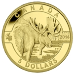 2014 $5 Pure Gold Coin O Canada - Moose