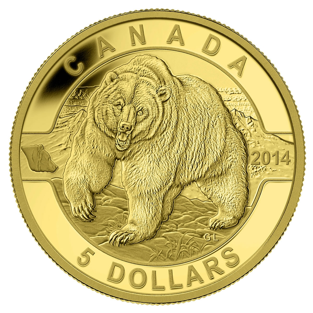 5 2014 Pure Gold Coin O Canada Grizzly Bear Royal