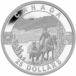 2014 $25 Fine Silver Coin - O Canada - Cowboy in the Canadian Rockies