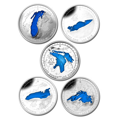 2014-2015 $20 Fine Silver Set - The Great Lakes (5 Coins + Display Case)