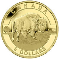 2014 $5 Pure Gold Coin - O Canada - Bison