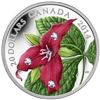 2014 $20 Fine Silver Coin - Red Trillium with Crystal Dew Drops