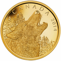 2014 $1250 Pure Gold Coin - Howling Wolf