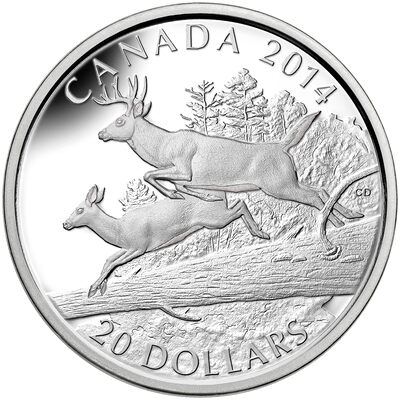 2014 $20 Fine Silver Coin - The White-Tailed Deer: Mates
