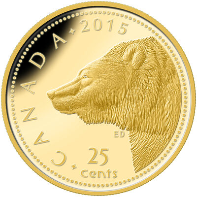 2015 25c Pure Gold Coin - Grizzly Bear