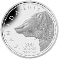 2015 $300 Platinum Coin - Grizzly Bear