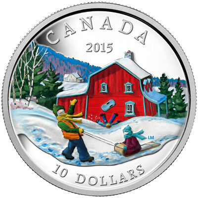 2015 $10 Fine Silver Coin - Winter Scene