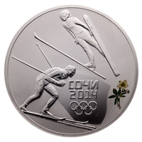 2014 Russia Sochi 3 Roubles Silver Coin - Nordic Combined