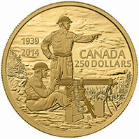 2014 $250 Pure Gold Coin - 75th Anniversary of the Declaration of the Second World War