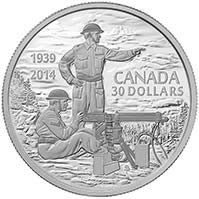 2014 $30 Fine Silver Coin - 75th Anniversary of the Declaration of the Second World War