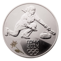 2014 Russia Sochi 3 Roubles Silver Coin - Curling