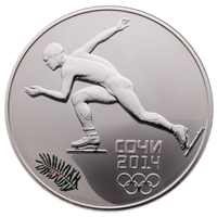 2014 Russia Sochi 3 Roubles Silver Coin - Speed Skating