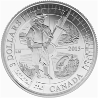 2015 $3 Samuel de Champlain in Huronia, 400th Anniversary - Pure Silver Coin