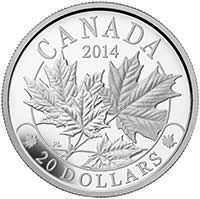 2014 $20 Fine Silver Coin Majestic Maple Leaves