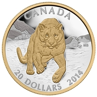 2014 $20 Fine Silver Coin - Cougar: Pouncing in the Snow