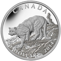 2014 $20 Fine Silver Coin - Cougar Atop a Mountain