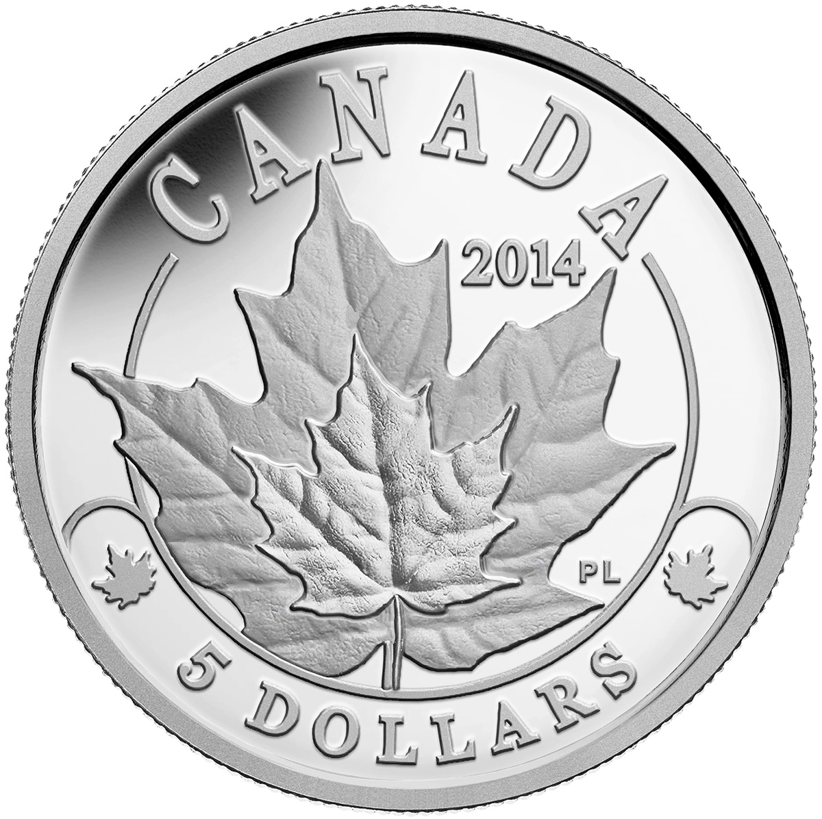 2014 5 Platinum Coin Overlaid Majestic Maple Leaves