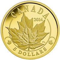 2014 $5 Pure Gold Coin - Overlaid Majestic Maple Leaves