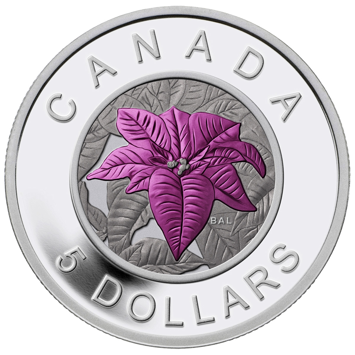 2017 5 Fine Silver Coin Flowers In Canada Poinsettia