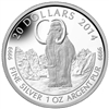 2014 $20 Fine Silver Coin - Prehistoric Animals: The Woolly Mammoth