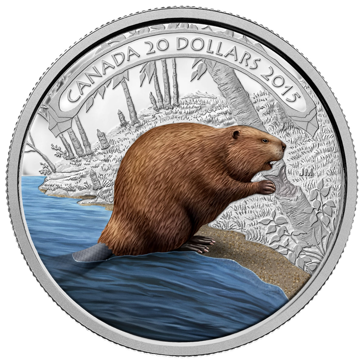2015 20 Fine Silver Coin Beaver At Work Royal Canadian Mint Coins