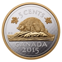 2015 5 oz. Fine Silver Coin - Big Coin Series: 5-cent Coin (Beaver)