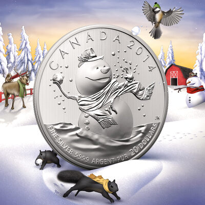 2014 20 Fine Silver Coin 20 For 20 Snowman Royal Canadian Mint Coins