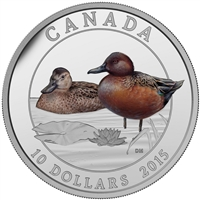 2015 $10 Fine Silver Coin - Ducks of Canada - Cinnamon Teal