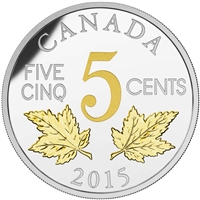 2015 5c Fine Silver Coin - Legacy of the Canadian Nickel: The Two Maple Leaves