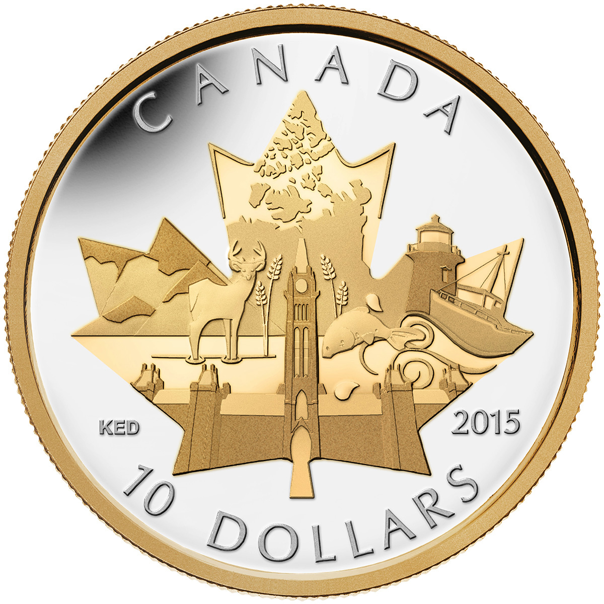 2015 10 Fine Silver Coin Celebrating Canada Royal