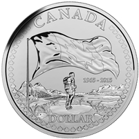 2015 Brilliant Silver Dollar - The 50th Anniversary of the Canadian Flag