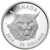 2014 $25 Fine Silver Ultra High Relief Coin - The Fierce Canadian Lynx