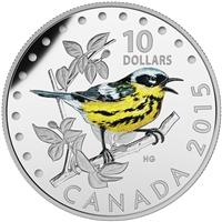 2015 $10 Fine Silver Coin - Colourful Songbirds of Canada: The Magnolia Warbler