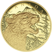 2015 $1250 Pure Gold Coin - Growling Cougar