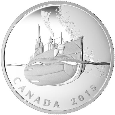 2015 $20 Canada's First Submarines During the First World War: The Canadian Home Front - Pure Silver Coin