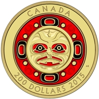 2015 $200 Pure Gold Coin - Singing Moon Mask